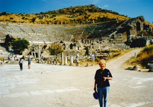 The amazing Theatre at Ephesus, Shelley's mum in front.