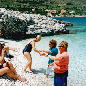 Swimming at Ag Efimia in the beautiful clear water, John & Anne, Sue & Viv