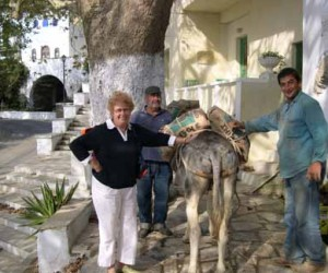 Tinos, me with the donkey (prize for telling which one is which)