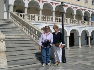 In front of the Church of the Annunciation of the Virgin Mary Tinos