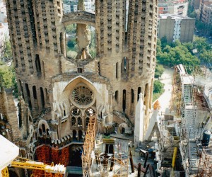 SAGRADA FAMILIA From top tower looking down at cenre of church
