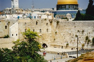 Western wailing wall Jerusalem in front of Temple Mount