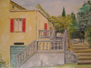 My painting of Villa La Forra where we ate most of our meals