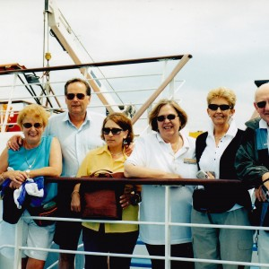 Cowra Group on ferry from Patras to Kefalonia l to r. myself, John & Viv Lowther, Michelle, Lyn & George Munday