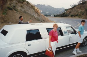 Our stretch limo and Ethiopian Driver Zee looking at the Hollywood sign