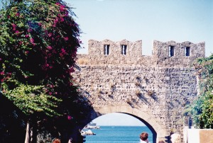 Rhodes city wall to the harbour where once the Colossus stood