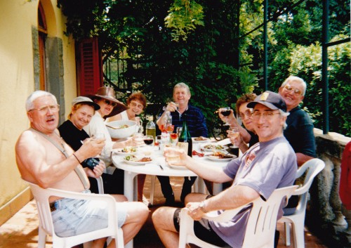 Dining at Villa la Forra Tuscany our group of 9 Walter Heidi, Marie Colleen John Lola Tom Roberto