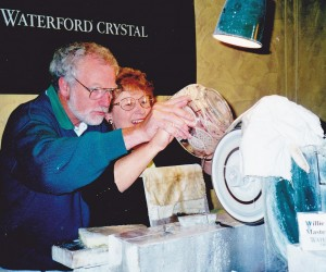 AT WATERFORD CRYSTAL Colleen and Willie Pierce master cutter cutting glass pattern in bowl