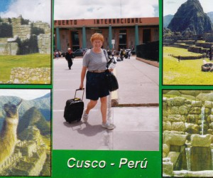Me arriving at Cuzco airport. Everyone has their photo taken by locals on arrival at the airport. I think it is a before and after if you don't survive the altitude. The photo studio find you days later in the most unlikely spot to sell you their photo