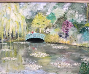 My painting of the garden and bridge in Monet's Giverny garden