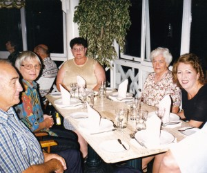 Our group dinner at La Rosa Nautica, Max, Barb a left
