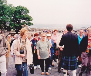 HWT Cowra group up the steep climb to Edinburgh Castle with local guide Donald Donaldson