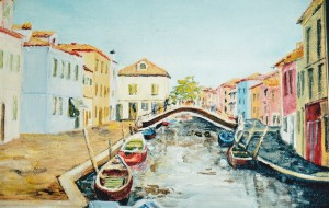 My painting of Burano's coloured houses
