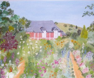 My painting of Monet's house which can be viewed from most parts of the garden
