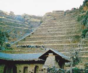 Ollantaytambo looking up from the hut to Temple of the Sun and the Terrace of 10 niches you can see