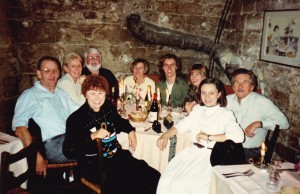 Paris dungeon dinner, in this group Dick Thornton, John McKenzie, Maxine Van Wyngen, Brian, Deb and myself