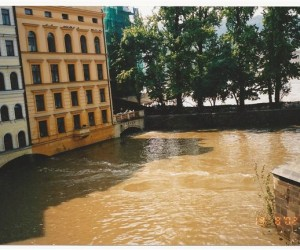Prague flooded buildings in the devastating 2002 central Europe flooding
