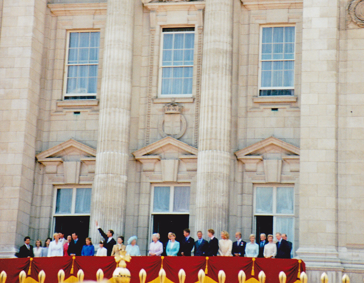 The Royal family lined up on balcony of Buckingham Palace for the Queen Mother's birthday