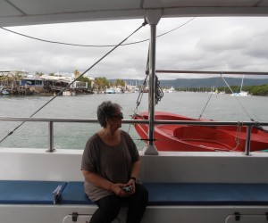 Michelle pensive on Great Barrier reef cruise to Low Isles