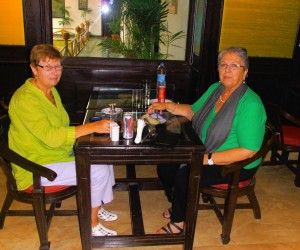 MICHELLE AND ME DINING AT ETHIOPIAN CONSULATE COMPOUND NEW DELHI