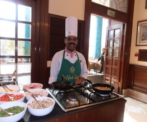 Breakfast chef Joseph making omelettes and pancakes