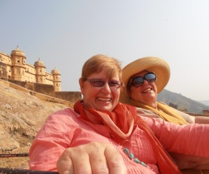 Michelle and Colleen on hilarious elephant ride to top of Amber Fort
