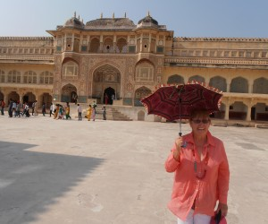 Colleen at the main gate of the Palace at top of Amber Fort