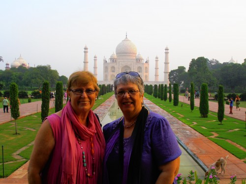 Michelle and Colleen at entrance to Taj Mahal