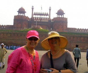 Colleen and Michelle at entrance to Red Fort