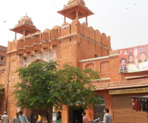 Pink city temples among shops