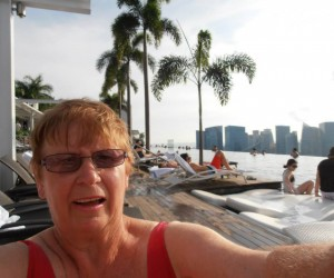 Colleen in the swim at Marina Bay Sands Hotel