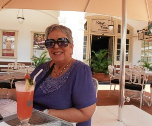 Michelle having a virgin Singapore sling at Raffles Hotel for lunch