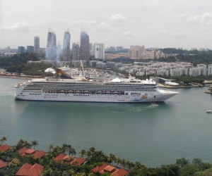 From Sentosa Island cable car the Star Virgo coming in