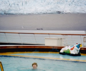 Swimming in the steaming Zandaam pool in Glacier Bay, freezing cold