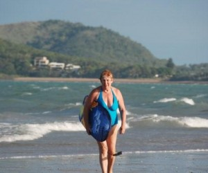 Colleen boogie boarding at Cooee Bay