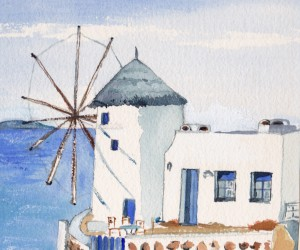 Mykonos windmill my water color copyright