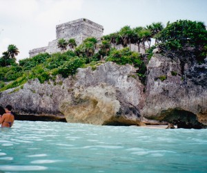 Swimming at Tulum Mayan ruins